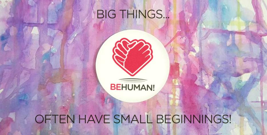 BeHuman! Logo-Design und Aufkleberproduktion